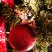 Radnom funny picture tags: Miley-Cyrus wrecking-ball christmas-tree bauble riding-bauble