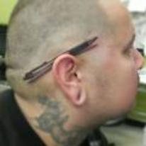 Radnom funny picture tags: Pen behind ear tattoo illusion