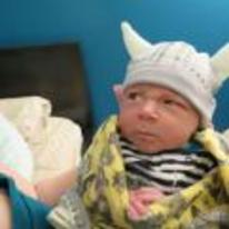 Radnom funny picture tags: angry viking baby hat horns