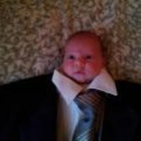 Radnom funny picture tags: baby wearing suit tiny-head too-big