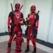 Radnom funny picture tags: deadpool family photo kid cosplay