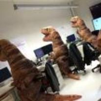 Radnom funny picture tags: halloween costumes lab department t-rex