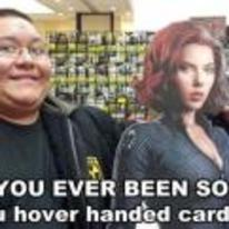 Radnom funny picture tags: hover-hand cardboard cut-out avengers scarlett-johansson