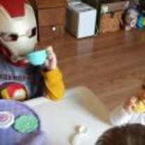 Radnom funny picture tags: iron-man kids tea party drinking-tea