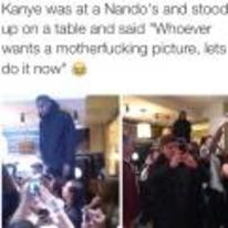 Radnom funny picture tags: kanye-west nandos who-wants-a-picture do-it-now black-twitter