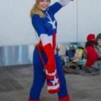 Radnom funny picture tags: knitted captain-america costume cosplay girl