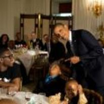 Radnom funny picture tags: obama pointing kid asleep table