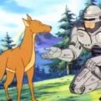 Radnom funny picture tags: robocop feeding deer part-robot all-animal-lover