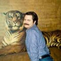 Radnom funny picture tags: ron-swanson parks-and-recreation tiger Nick-Offerman pose