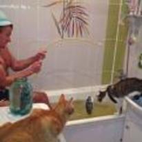 Radnom funny picture tags: russia cat fishing bath fish