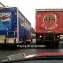 Radnom funny picture tags: snapchat praying-for-an-accident two-trucks pepsi bacardi