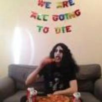 Radnom funny picture tags: we-are-all-going-to-die goth metal eating-pizza celebrating