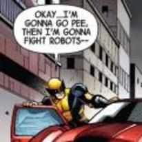 Radnom funny picture tags: wolverine marvel comic gonna-go-pee fight-robots